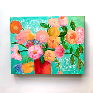 """New Mercies"" Original Aqua, Pink, Orange and Yellow Floral Painting 11x14 inches"