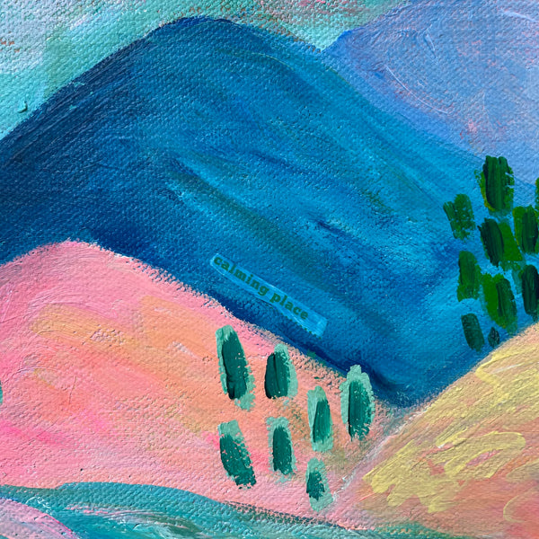 "Bright Cotton Candy Landscape Part 1 - 11x14 inches: ""Joy & Peace"""