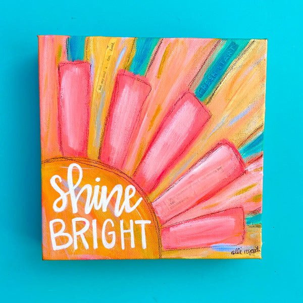 "Colorful Sunshine Painting 8x8 inches: ""Shine Bright"""