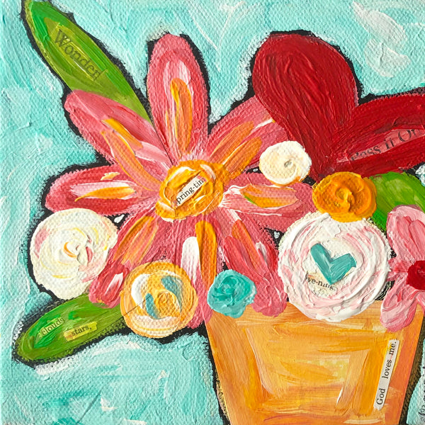 Small mixed media flower canvas. Original colorful art. Whimsical Flower bouquet on canvas.
