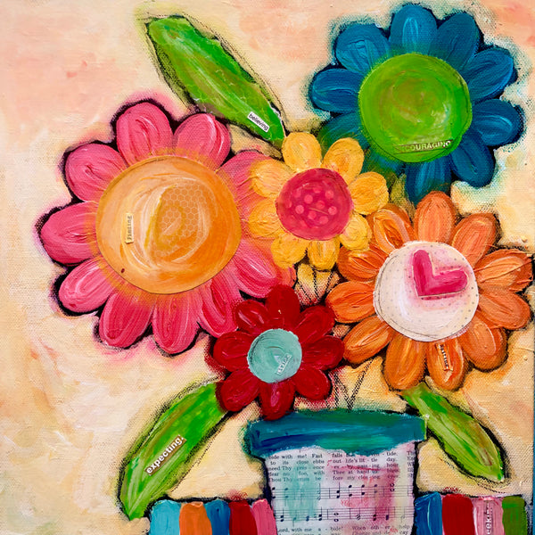Colorful flower bouquet painting. Whimsical art on canvas. Oversized joyful art.