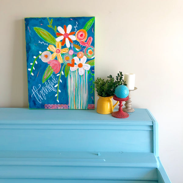 Colorful flower painting. Whimsical Flower Garden art on canvas. Oversized joyful art.