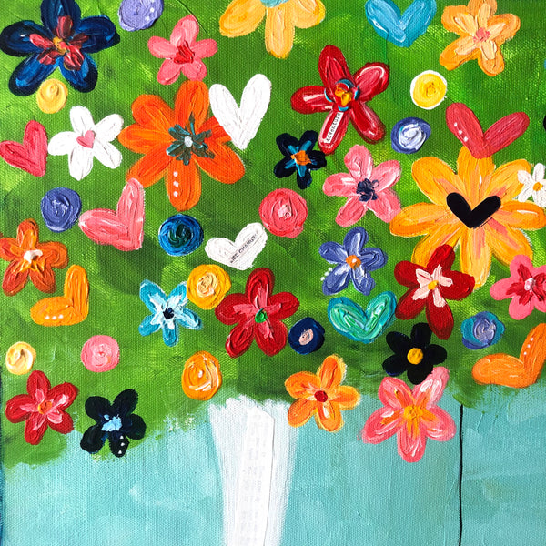 Colorful flowers and tree swing painting. Whimsical art on canvas. Oversized joyful art.