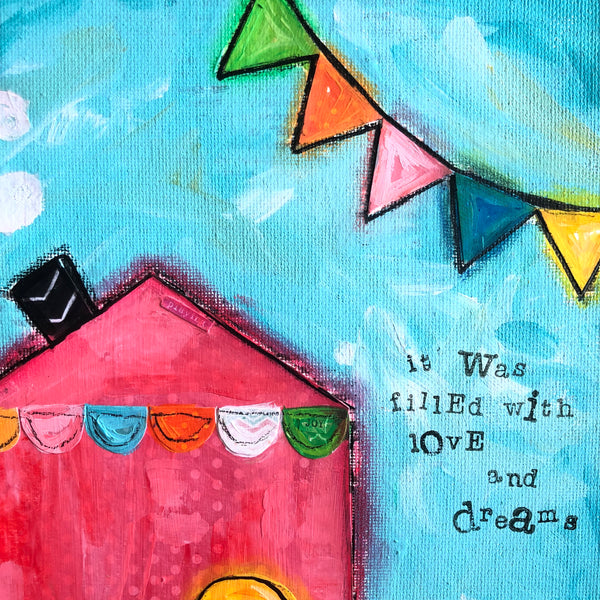 Colorful House painting. Whimsical art on canvas.