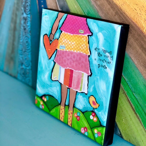 Prettier Place: Brave Girl Canvas Print, Gallery Wrapped with 3/4 inch depth and finished Black sides.