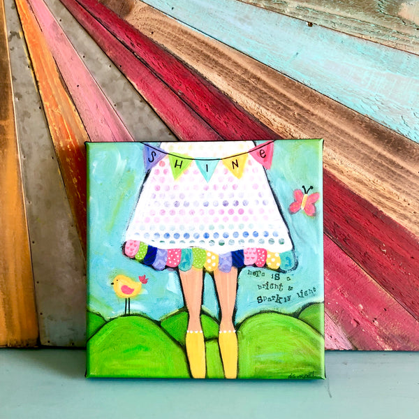 Shine: Brave Girl Canvas Print, Gallery Wrapped with 3/4 inch depth and finished Black sides.