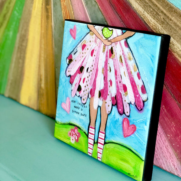 She Laughs Easy: Brave Girl Canvas Print, Gallery Wrapped with 3/4 inch depth and finished Black sides.