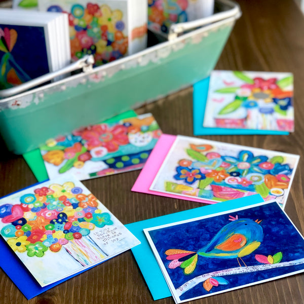 Send Joy Club. Set of 5 Note Cards made from Original art. Each month a new set of cards!