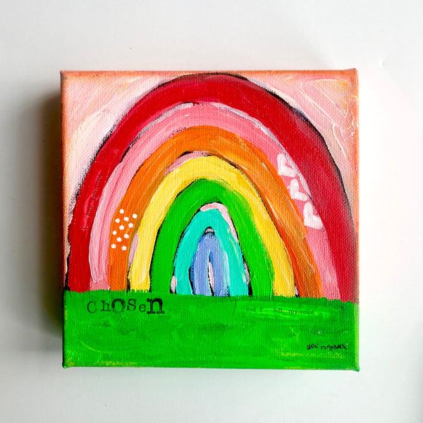 Custom Whimsical Rainbow Art stamped with your word of choice.