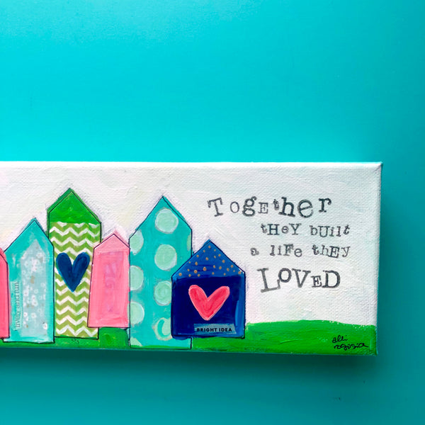 Happy Love Town. Navy, Pink, Green and Teal Whimsical Houses. Heart artwork. Colorful mixed media art on canvas.