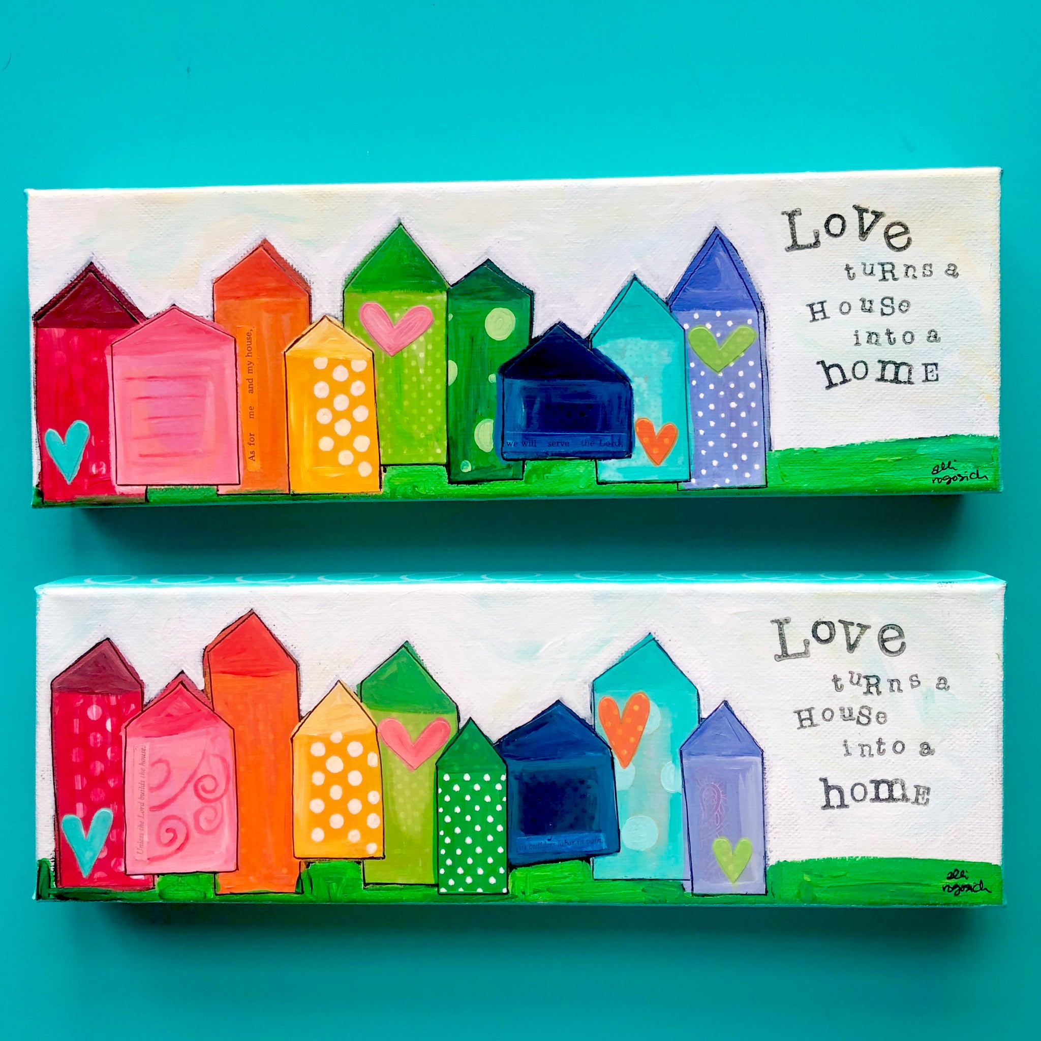 Rainbow Love Town. Whimsical Houses. Heart artwork. Colorful mixed media art on canvas.