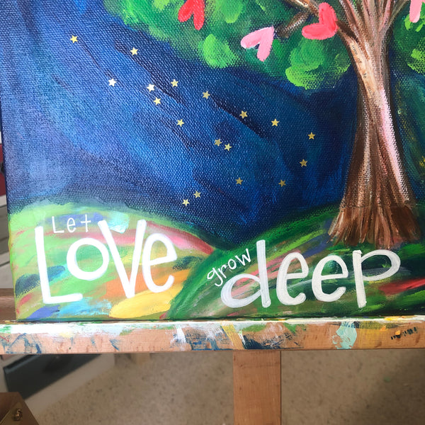 Original Tree of Love Painting. 11x14 inches on canvas with painted sides.