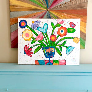 Fresh Hope. Whimsical Colorful Abstract flower painting.