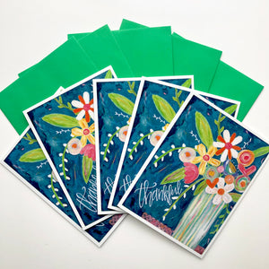 Set of 5 Floral Thank you Cards