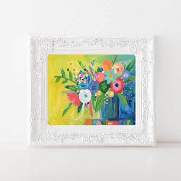 Yellow and Navy Multicolored Floral Painting Art Print