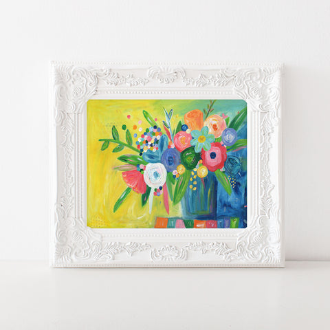 Blue and Navy Multicolored Floral Painting Art Print