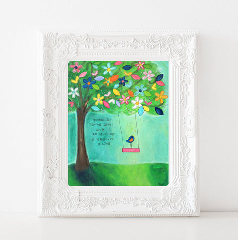 Almost Heaven Art print. Whimsical Tree Swing and bird painting.