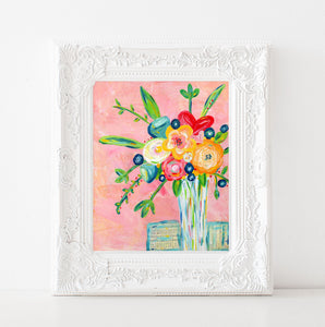 Amazing Grace colorful flower painting. Floral bouquet art print.