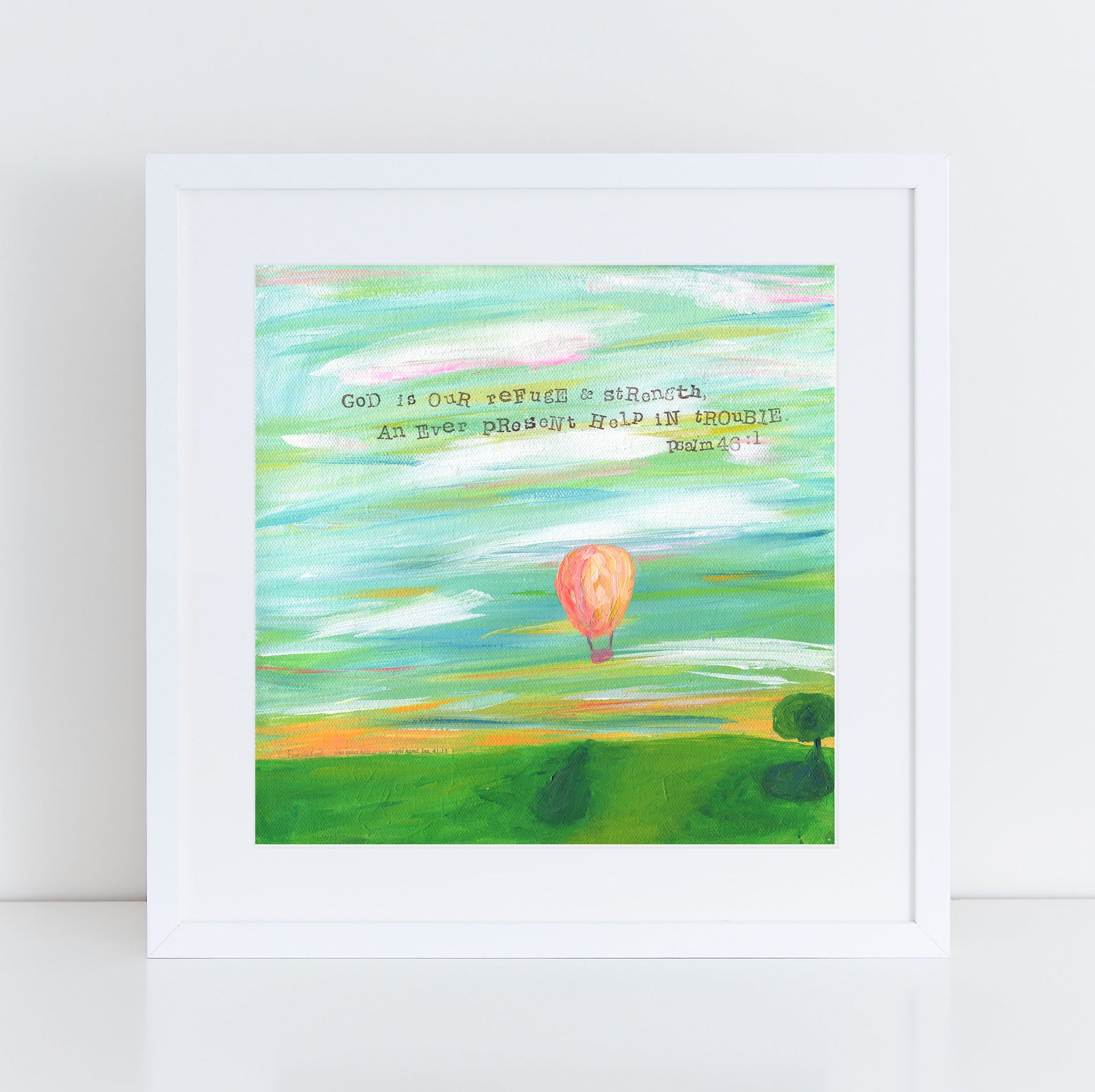 Art print: God is our refuge Balloon landscape