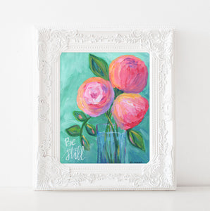 "Art print: ""Be Still""  Aqua & Pink floral bouquet"