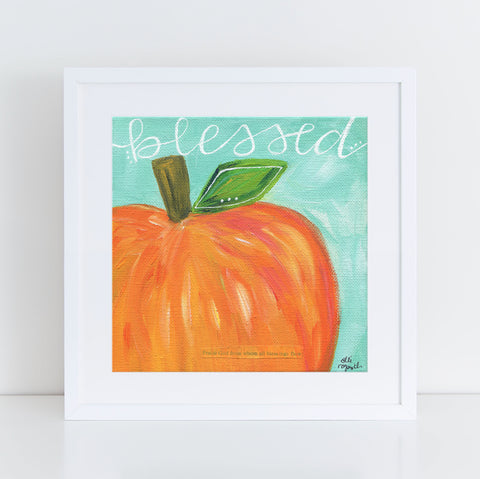 "Art print: ""Blessed"" Aqua & Orange Pumpkin"
