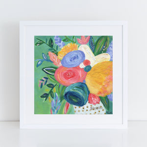 Breathe Mixed Media Floral Art print.