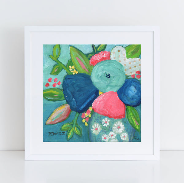 Art print: Navy and Pink Bouquet