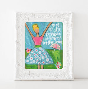 Dance in the Rain Girls Art Print
