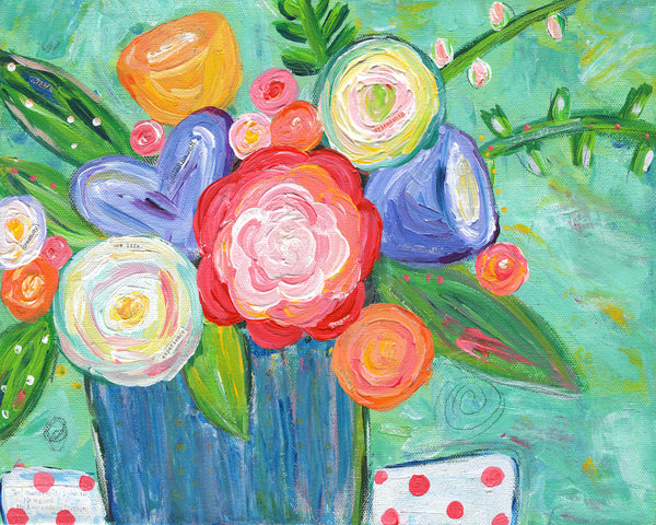 Experience art print. Colorful flower painting. Floral bouquet art print.