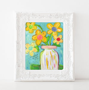 Let His grace fall art print. Colorful flower painting. Floral bouquet art print.