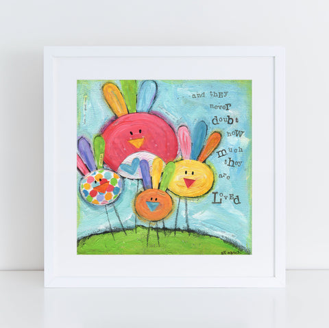 Art Print of Mama and Baby Birds original mixed media painting. Square art professionally printed on heavyweight paper. Mothers Day gift idea.