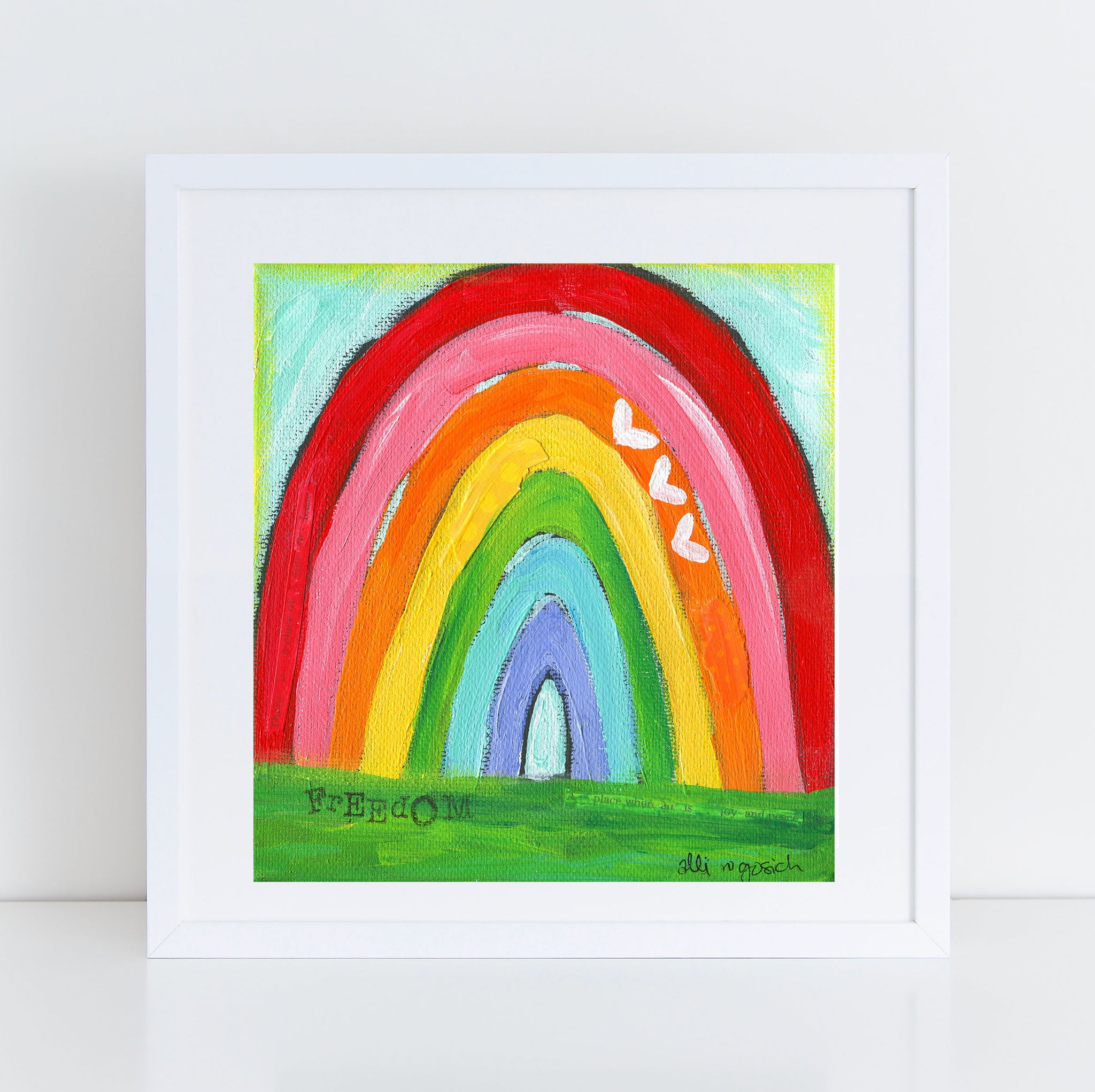 "Whimsical ""Freedom"" Rainbow Art Print. Original Painting printed on high quality paper."