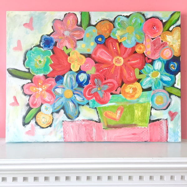 Original abstract flower painting art print