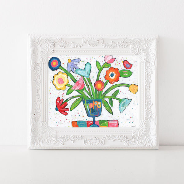 Funky Flowers in a Vase Art print