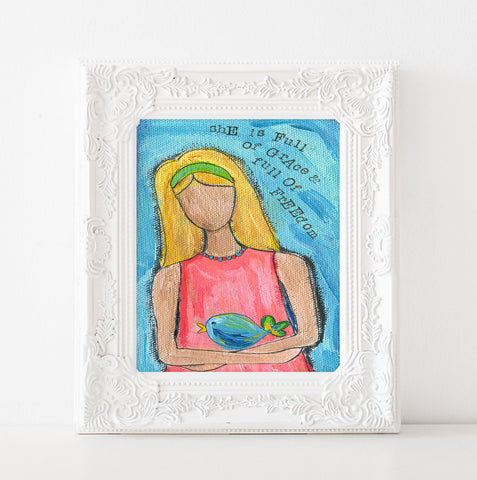 Whimsical Inspirational girls room decor. She was full of freedomPastel whimsical painting, redeemed art work, Christian wall decor, teen girl acrylic art print, 8x10, 11x14 prints