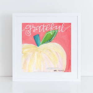 "Art print: ""Grateful"" Pink & White Pumpkin"