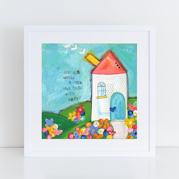 Happy House Art Print. Original Whimsical House painting.