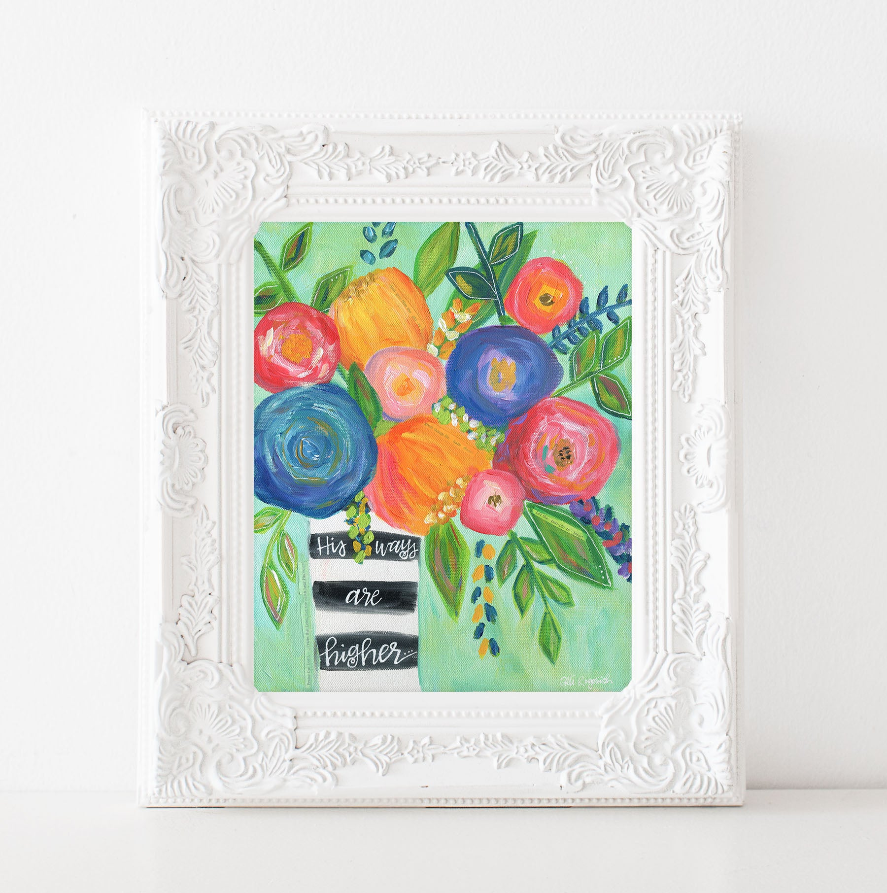 "Art print: ""Higher Ways""  multi colored floral bouquet"