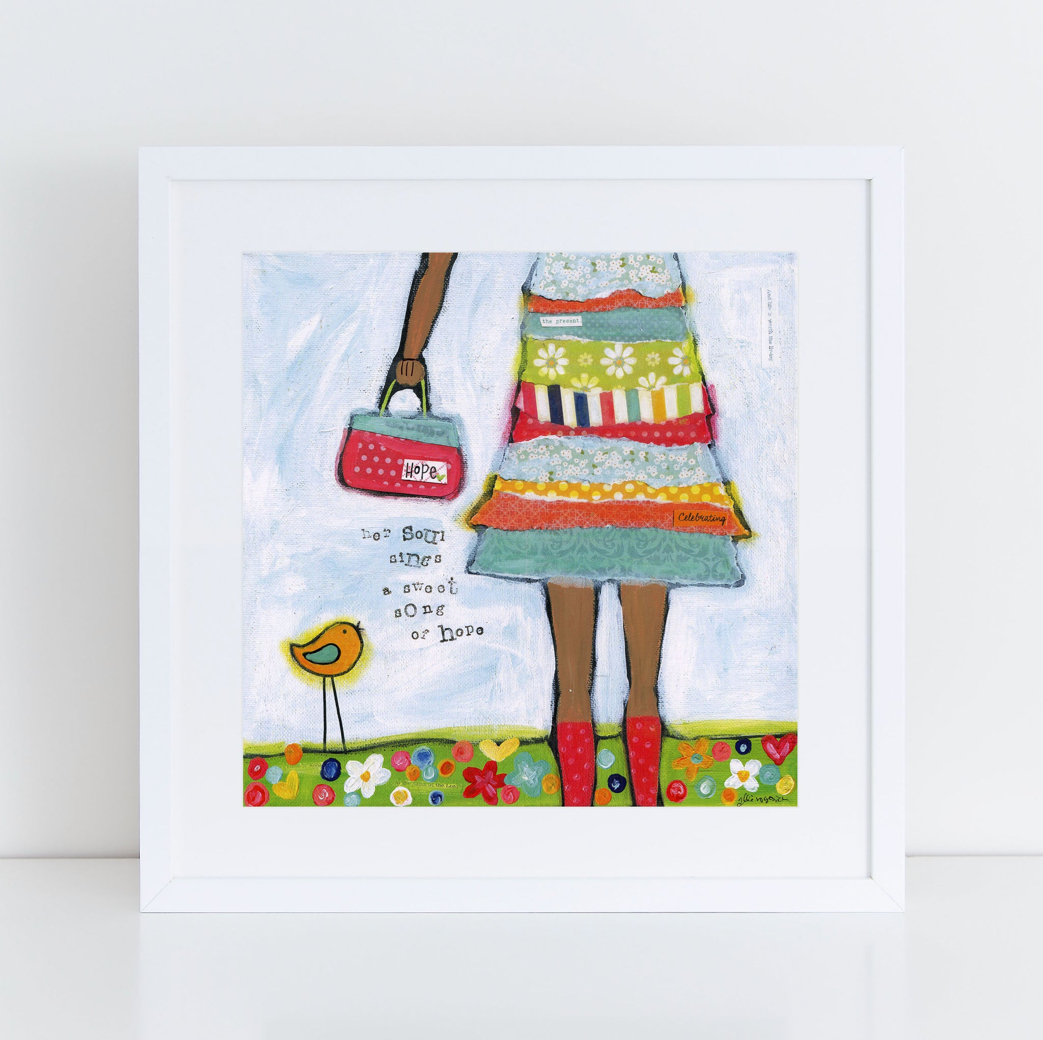 Hope Brave Girl Art Print with darker skin tone