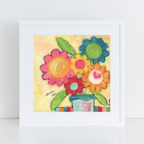 Colorful Daisy Floral bouquet art print