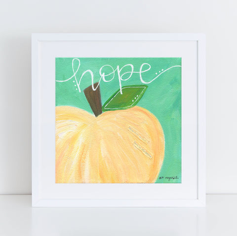 "Art print: ""Hope"" Teal & White Pumpkin"