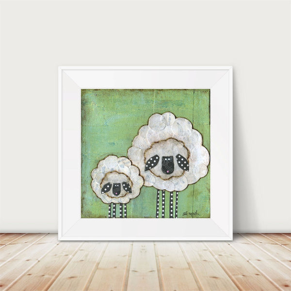 Mama and Baby Sheep Art Print