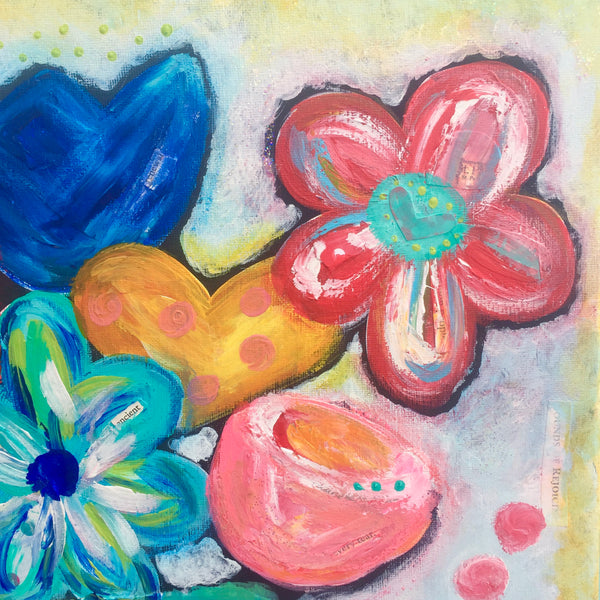 original floral abstract painting • colorful floral painting • bold floral wall art • acrylic wall decor • mothers day gift • gift for her