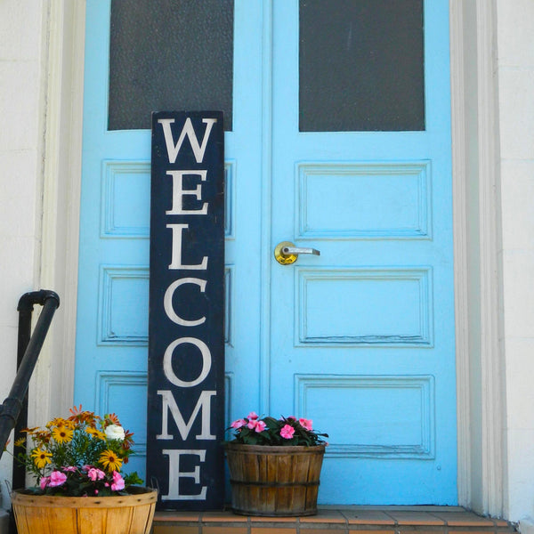 Large Welcome Sign. Reversible Sign. Distressed Wood Sign. Outdoor sign. Porch Sign.  front door sign.