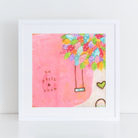 Be Still and know tree swing art print