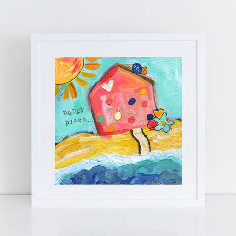 This is my happy place, beach house decor, sunshine art print, mixed media, square inspirational art, colorful, happy, coastal home decor