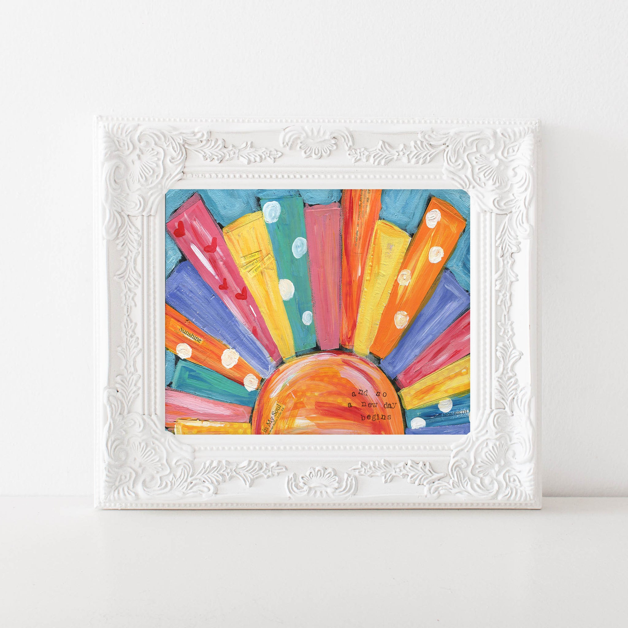 Beach House Art Print. Bright Colorful Sun Painting. Sunshine Beach House Decor. Whimsical Coastal Art.
