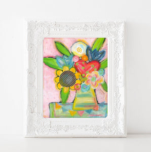 Pink girls room decor, Pastel Flower painting, sunflower painting, flowers in vase original acrylic art print, 8x10, 11x14 prints