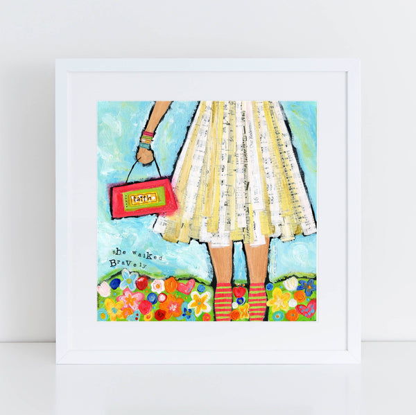 She walked Bravely, Faith based art, Girls Room decor Painting, Music Lovers Gift, Brave girls art, original square art print, happy art