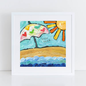 Beach umbrella painting, beach house decor, sunshine art print, find rest, square inspirational art, colorful, happy, coastal home decor